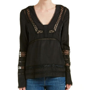 Derek Lam 10 Crosby Black 100% Silk Blouse.size 2